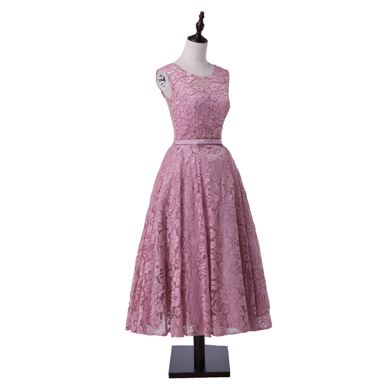 New Arrival Formal  Party Evening Dresses Vestido De Festa Lace-up Long Gown Lace Beads Tea-length Style Dress Beading Pearls
