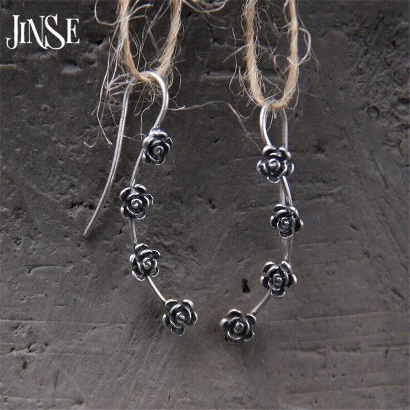 JINSE S925 Pure Silver Jewelry Luxury Vintage Antique Silver Four Flowers Pendants Drop Dangle Earrings For Women 4.50mm