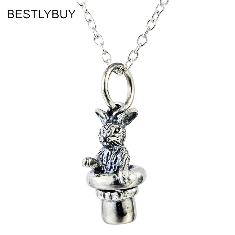 BESTLYBUY 925 Sterling Silver Rabbit necklace Magician's Jewelry Bunny with Top Hat Magic Trick Art necklace converse converse m3494 m