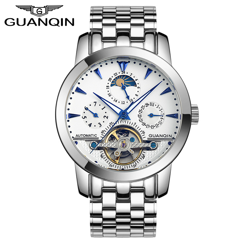 GUANQIN GQ10028 Mens Watches Top Brand Luxury Multi-Function Automatic Mechanical Watch Fashion Tourbillon Skeleton Watch luxury swiss auto tourbillon mens multi function watch black freeship