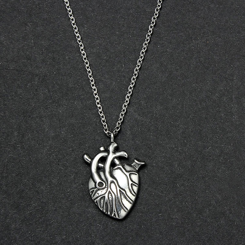 UMGODLY Goth Stainless Steel Necklace Punk Jewelry Vintage Titanium Naked Heart Pendant for Women Men Lovers Gift