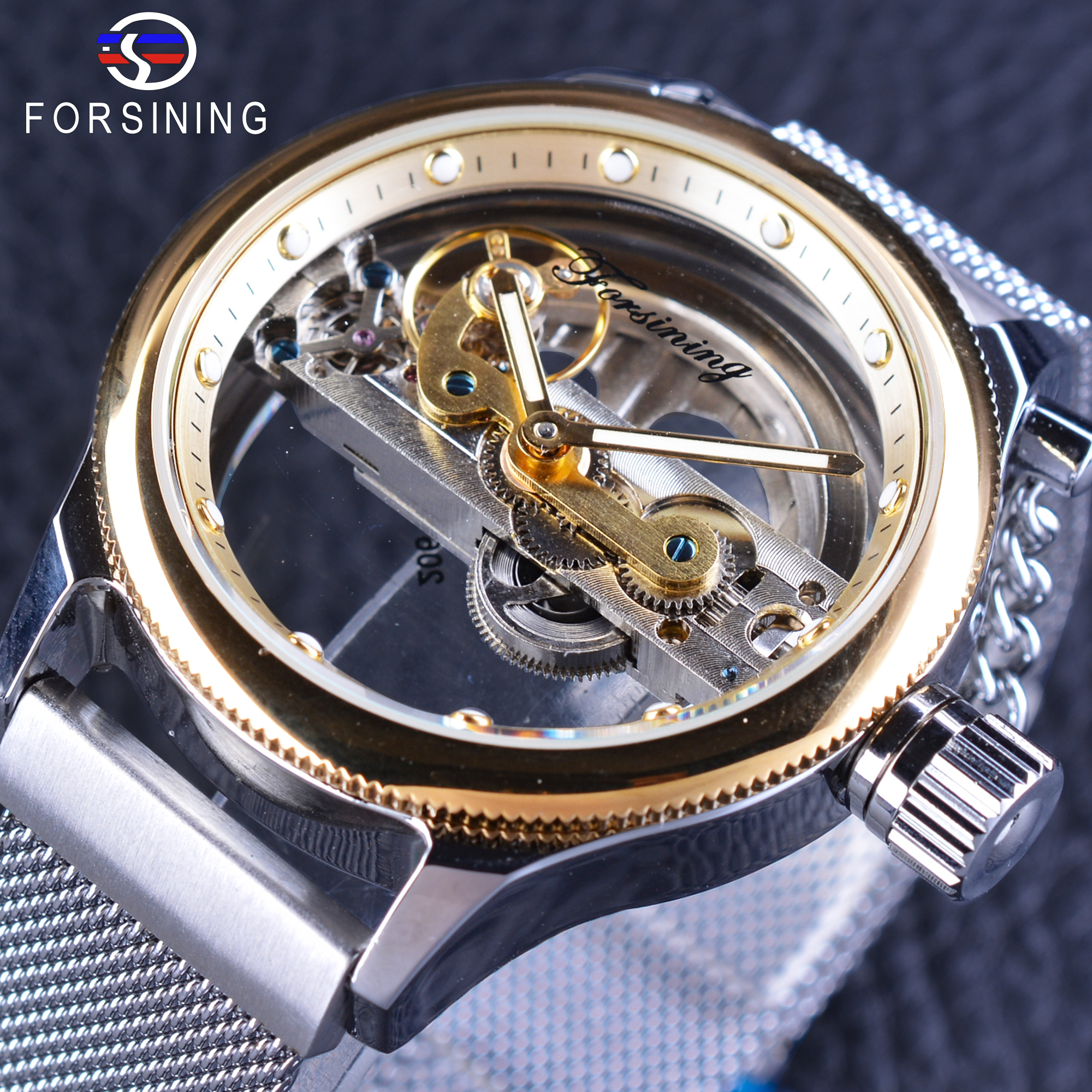 Forsining 2017 Men's Automatic Watches Top Brand Luxury Transparent Case Skeleton Dial Golden Bezel Silver Mesh Band Wristwatch forsining 3d skeleton twisting design golden movement inside transparent case mens watches top brand luxury automatic watches