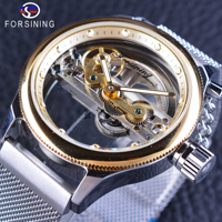 Forsining 2017 Men S Automatic Watches Top Brand Luxury Transparent Case Skeleton Dial Golden Bezel Silver