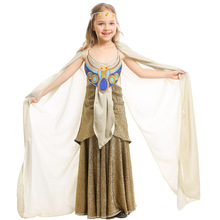 Umorden Kids Child Ancient Egypt Egyptian Golden Cleopatra Queen of Nile Costumes for Girls Halloween Mardi Gras Party Dress