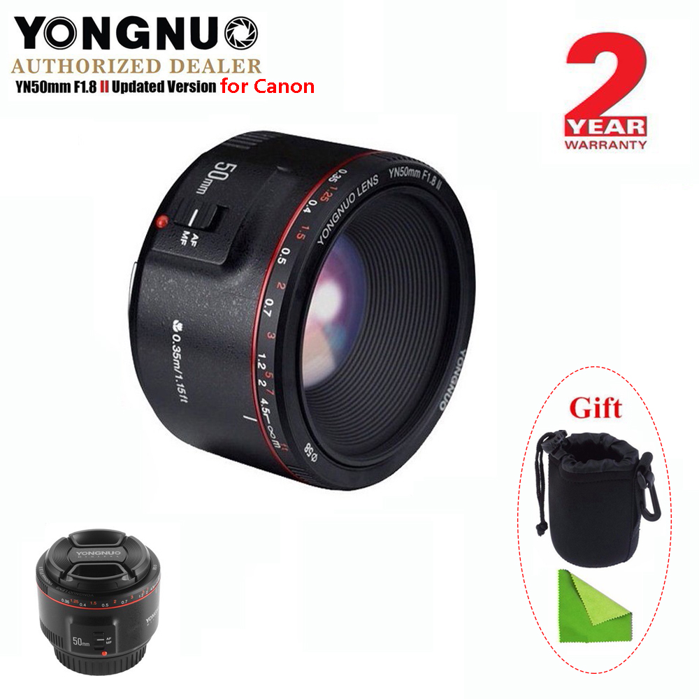 YONGNUO YN50mm F1.8 II Large Aperture Auto Focus Lens for Canon,Small Lens Bokeh Effect Lens for EOS 70D 5D2 5D3 DSLR Camera image