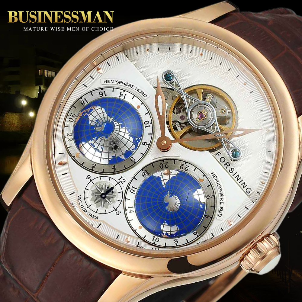 Forsining Earth Real Tourbillion Rose Gold Classic Multi-dimensional Designer Watch Men Automatic Watch camino real gold купить грн