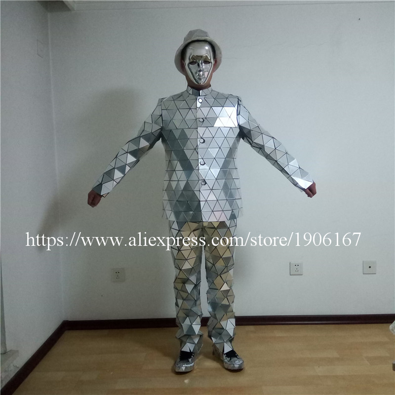 Catwalk Shows Men Silver Color Stage Ballrooom Costume Mirror Man Clothing Party Christmas Performance DJ Singer Clothes Suit09