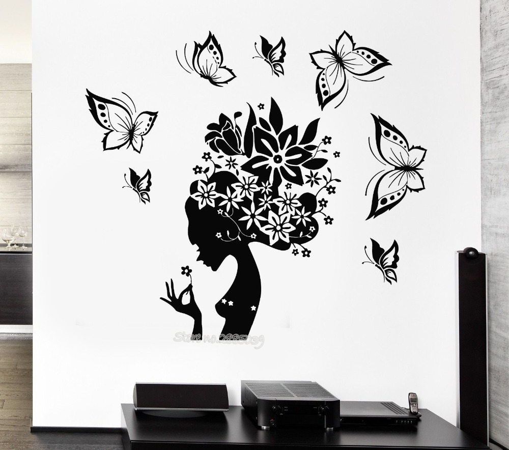 Newest design wall decals pretty butterfly beauty salon woman abstract hair stickers girl rooms - Stickers salon design ...
