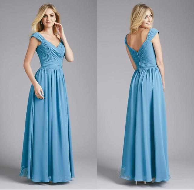 Newest Design V Neck Backless Pleats Long Chiffon Bridesmaid Dresses ...