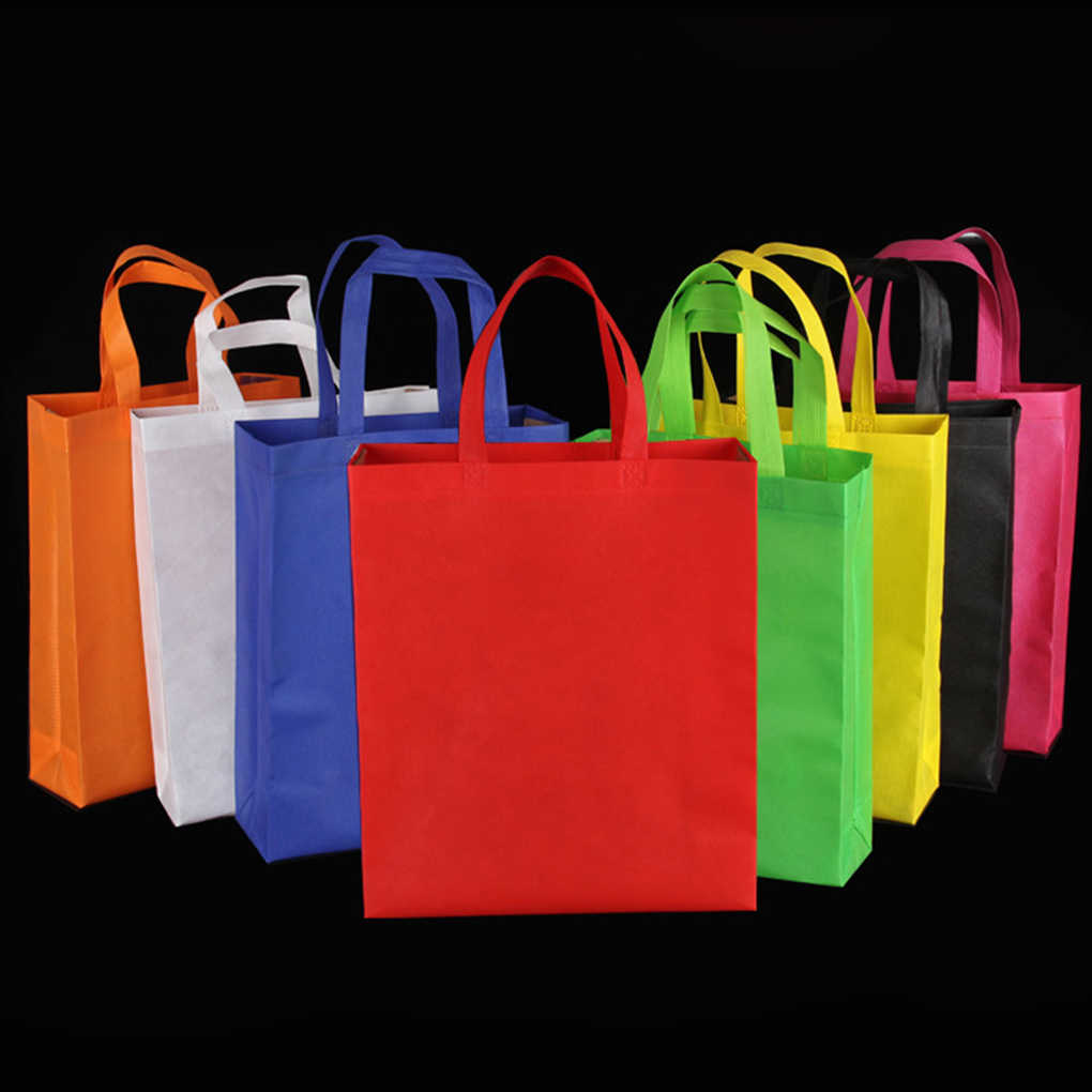 Hot Reusable Non Woven Shopping Bag Solid Color Foldable Grocery Convenient Tote Eco-friendly Storage Handbag