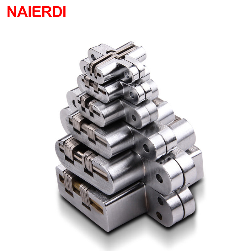 NAIERDI 304 Stainless Steel Hidden Hinges Invisible Concealed Folding Door Hinge With Screw For Furniture Hardware white plastic steel folding glass door hinge buffer flat windows shutters hinge for furniture hardware accessories