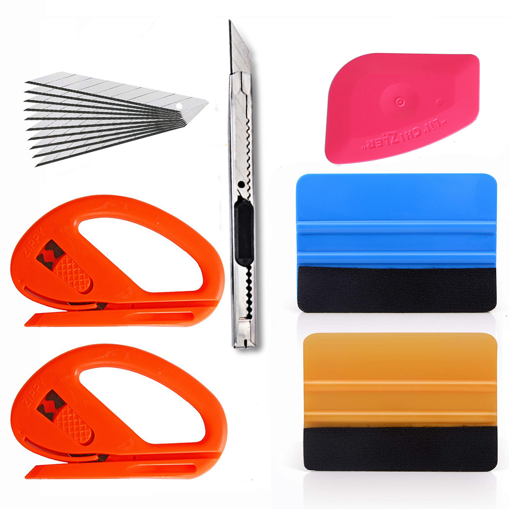 EHDIS Vinyl Wrap Car Tool Kit 3d Carbon Fiber Foil Squeegee Window Tint Vehicle Stickers Cutter Knife Car Wrapping Accessories
