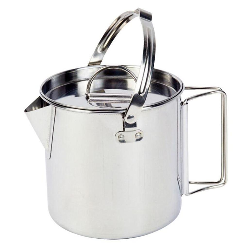 HobbyLane Outdoor Stainless Steel Kettle 1.2l Hiking Camping Portable Picnic Hanging Coffee Pot Cookware