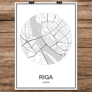 Black White World City Map of RIGA Latvia Print Poster Coated Paper for Cafe Bar Living Room Home Decoration Wall Art Sticker(China)