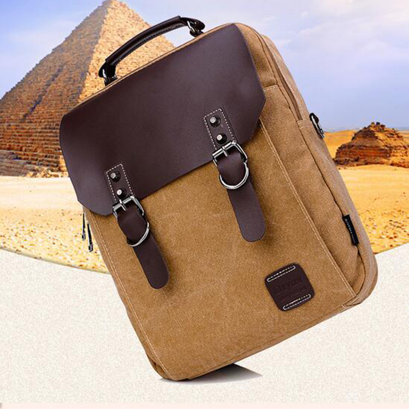 TOP POWER Men Canvas Backpack Teenager Girl Men Casual Student School Bag Fashion 14inch Laptop Backpack Rucksack High Quality