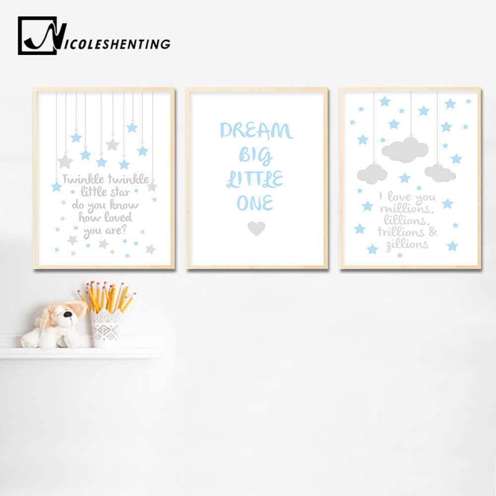 Kawaii Baby Nursery Quotes Wall Art Canvas Painting Cartoon Posters Prints Nordic Kids Decoration Pictures Boys Bedroom Decor