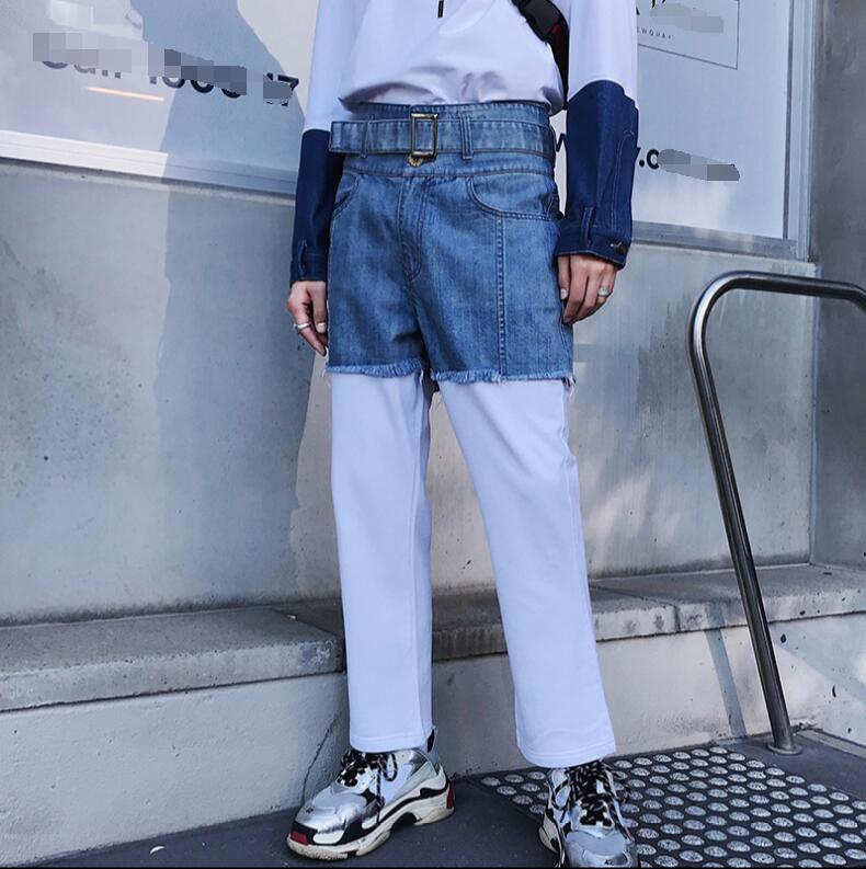 Printemps faux deux jeans hommes version coréenne droite de la personnalité de la mode épissage large jambe long pantalon