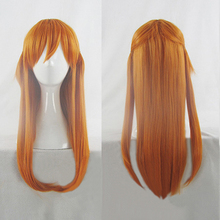 Аниме ЕВА АСУКА Langley Soryu Длинные оранжевые термостойкие волосы косплей костюм парик+ трек+ парик шапка