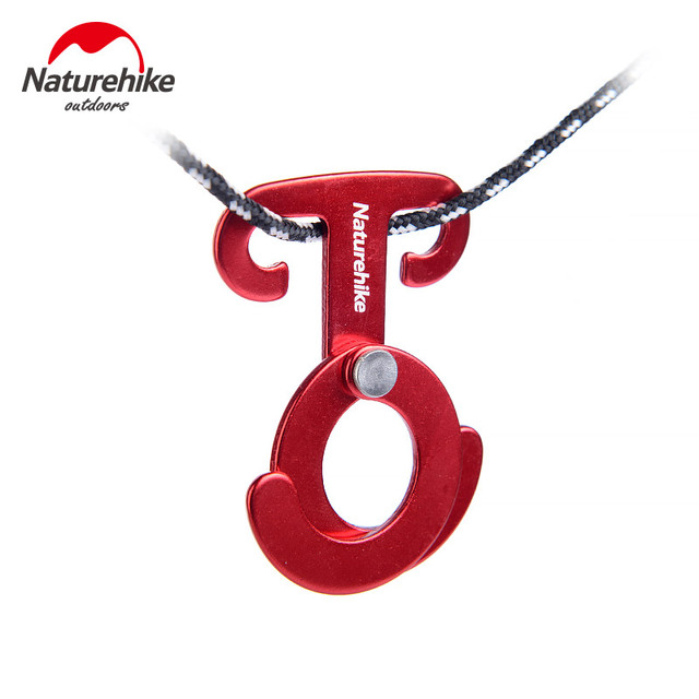 Naturehike T shape 4pcs Camping Tent Rope Buckle Aluminum alloy Tent Buckle Quick Hang Camping Wind Rope Hanging Buckle