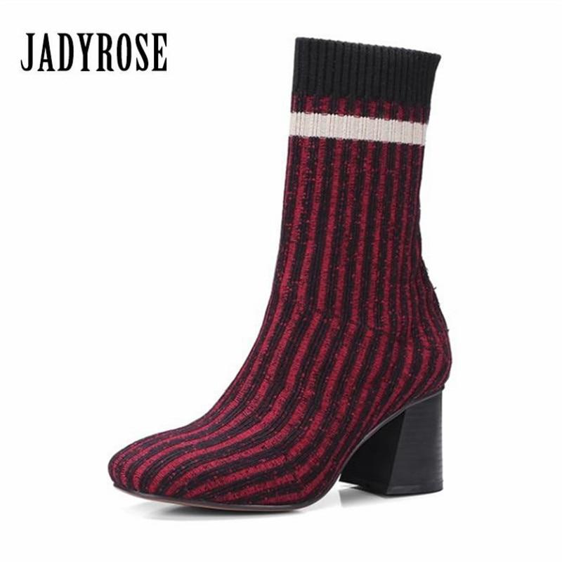 Jady Rose Mixed Color Women Knitting Sock Boots Stretch Fabric Chunky High Heels Female Autumn Elastic Booties Women Pumps fashion kardashian ankle elastic sock boots chunky high heels stretch women autumn sexy booties pointed toe women pumps botas