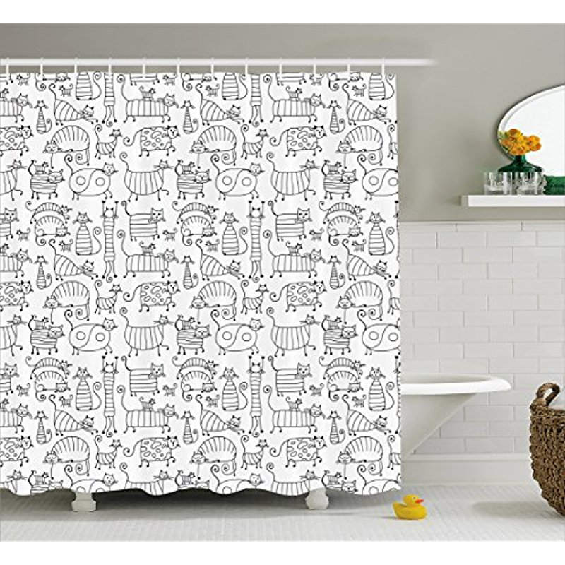 Vixm Doodle Shower Curtain Cute Kids Kitten Cat Hand Drawn Animal Love Baby Caricature Playroom Nursery Fabric Bath Curtains