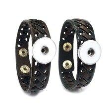 Weaving Bracelet 255 Interchangeable Really Genuine Leather Bracelet 18mm Snap Button Bangle Charm Jewelry For Women Men Gift цена