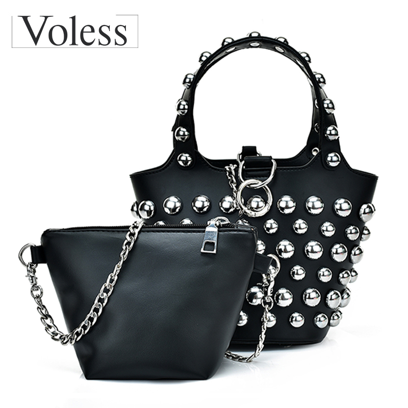New Bucket Bags Women PU Leather Handbags Fashion Rivet Composite Bag For women Messenger Bag High Quality Totes Crossbody Bags bailar fashion women shoulder handbags messenger bags button rivets totes high quality pu leather crossbody famous brand bag