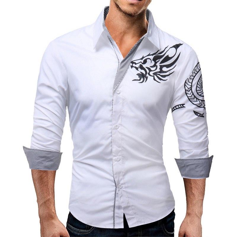Oeak Brand White Social Shirt Men Fashion Print Vintage Mens Clothing Casual Autumn Long Sleeve Slim Fit Dress Shirts Plus Size