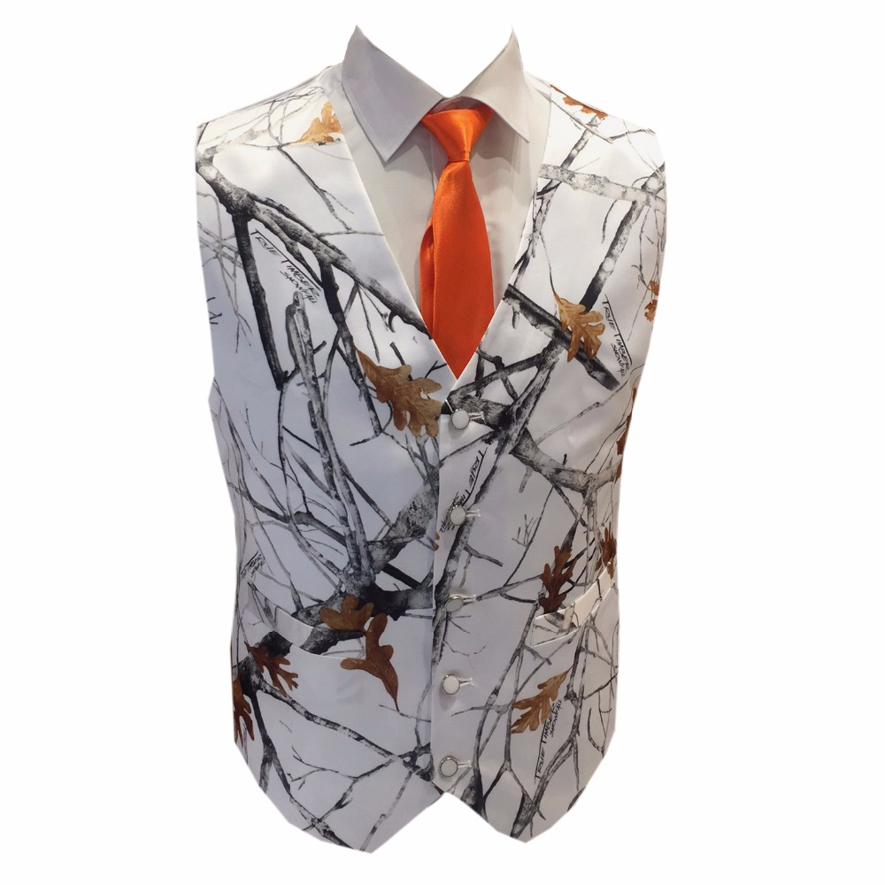 Wedding Party Dress Impartial True Timber White Camouflage Vests With Tie Groom Wear Camo Formal Vest Free Shipping Crease-Resistance