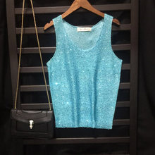 New Women Summer knit Tank Tops Shiny Sequin Sleeveless Tee Big O-neck Sexy Gold Lurex Transparent Slim Elastic Camis Basic Wear