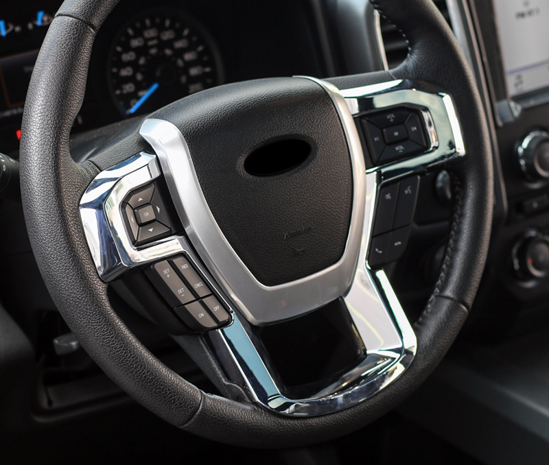 For Ford Expedition 2018 Car Steering Wheel Switch Button U Strips Cover Trim Sticker ABS Car