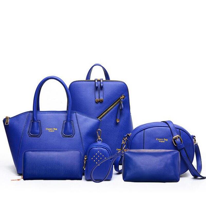 2019 nouveauté 6 Set sacs à main en cuir femmes sac de bureau Composite sac femmes sac à bandoulière + sac à main Designer + pochettes de jour + portefeuille - 3