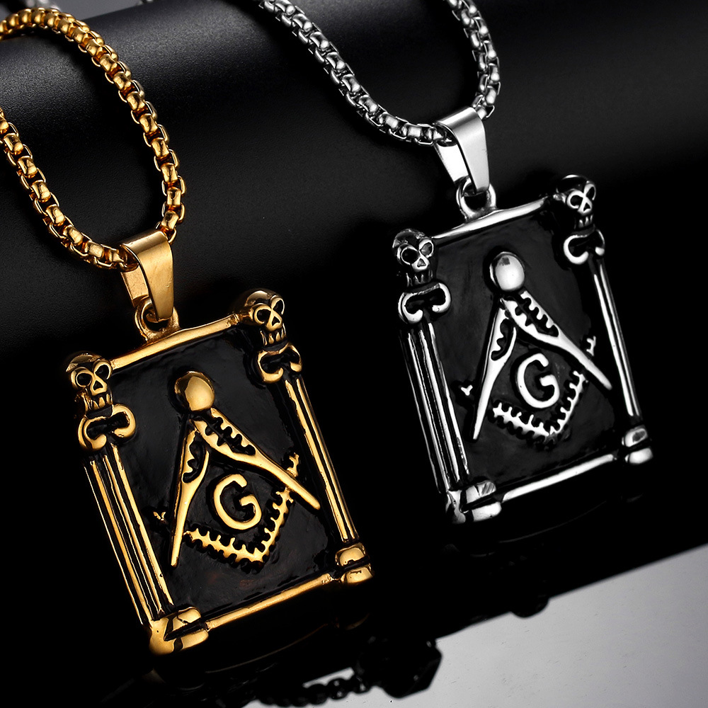 High Quality Stainless Steel Skeleton Head Judaism Masonic Necklace Men's Skull Tag Pendant Religious Jewelry
