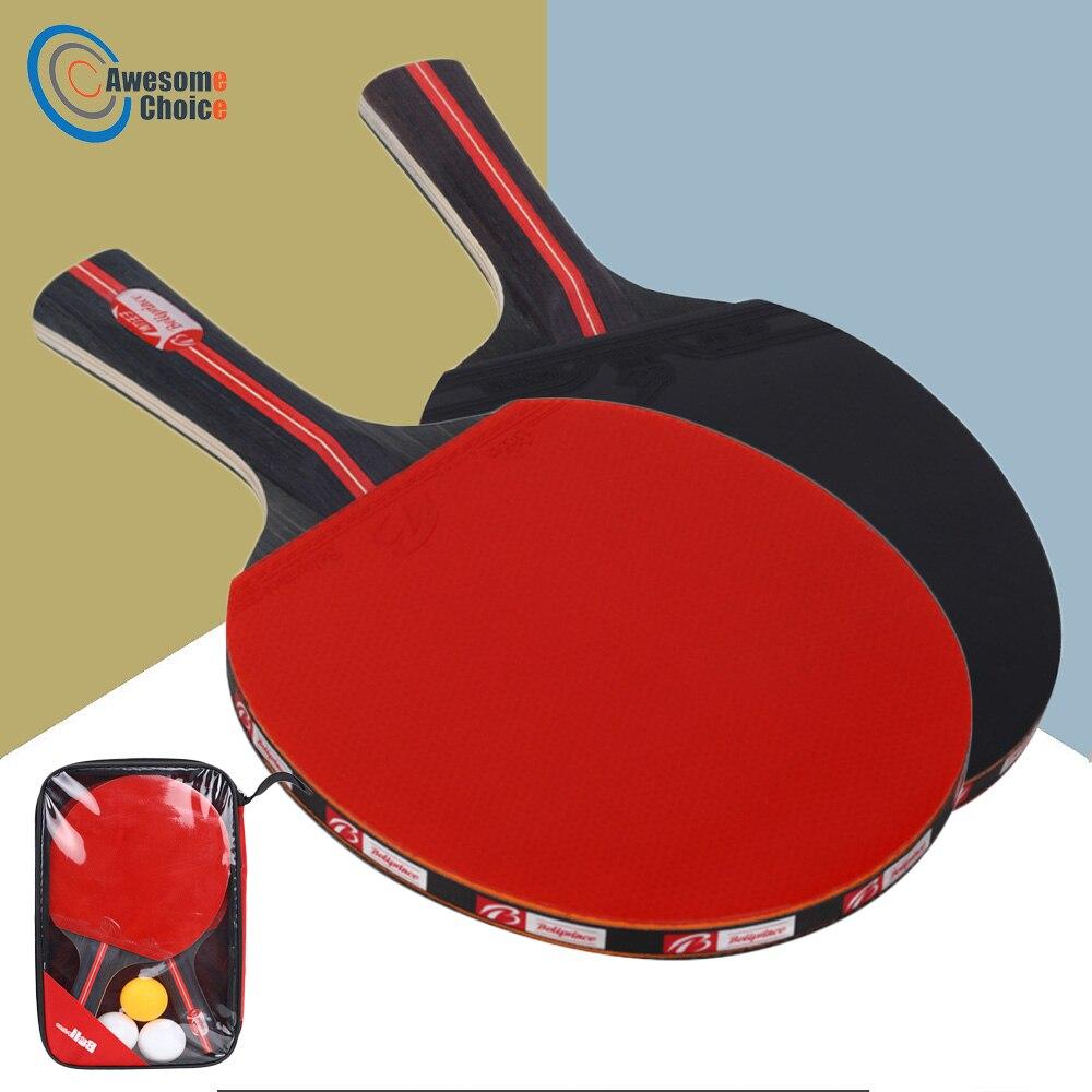 2 pcs/lot raquette de Ping-Pong raquette Double Face picots en Long manche court raquette de Ping-Pong Set avec sac 3 balles