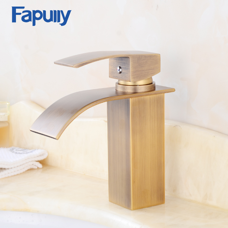 Antique bronze finish Bathroom Basin Faucet Single Handle Brass Waterfall Faucet Mixer Water Tap Torneira monite antique inspired solid brass bidet faucet polished brass finish bathroom basin faucet mixer tap