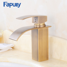 Antique bronze finish Bathroom Basin Faucet Single Handle Brass Waterfall Faucet Mixer Water Tap Torneira free shipping luxury swan design antique brass finish faucet bathroom basin mixer single handle countertop basin tap gi61