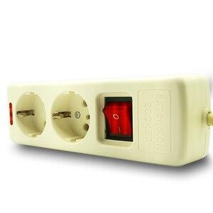 Image 3 - 250V 16A poder de la UE de múltiples, 2, 3, 4, 5, 6 agujero forma tomacorrientes de CA enchufe extensor hembra 4,8mm 2 Pin red de cable filtro para casa