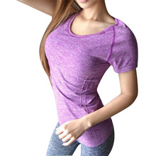 Women Lady professional fitness sports quick-drying perspicuousness short-sleeve exercise clothes T-shirt running