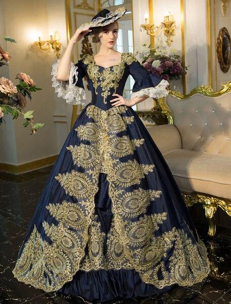 Bleu Vintage victorien costume robe à manches courtes tunique rétro femmes princesse floral robe de bal fête Maxi robes