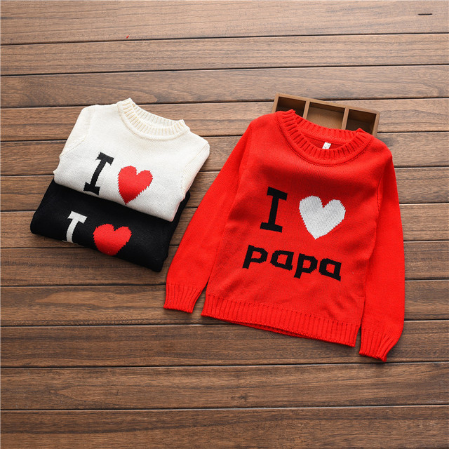 i love papa&mam boys clothes autumn winter children's sweater red black baby girls jacket knitting unisex kids outfits infantil
