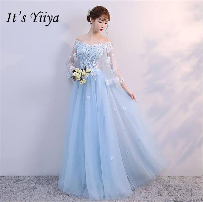 It's YiiYa New Boat Neck Blue Shawl   Bridesmaid     Dresses   Elegant Appliques Lace Mesh Slim Frocks H131