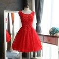 Nuevo elegante de encaje rojo una línea de vestidos de coctel backless 2017 sparkly rebordear partido corto prom dress