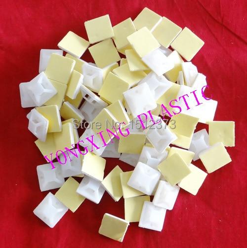 1000pcs/lot 3M glue nylon material self-adhesive tie mounts 25*25yellow self tie floral