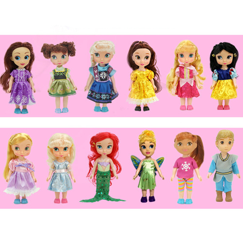 Disney 2017 New Style 16cm Vinyl Dolls Salon Sophia Frozen Anna Elsa Princess Doll for Childrens Birthday Gift