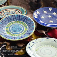 Hot Sale Blue Series Hand Painted Applique Ceramic Dinner Plates Household Porcelain Dishes Abstract Wall Hanging