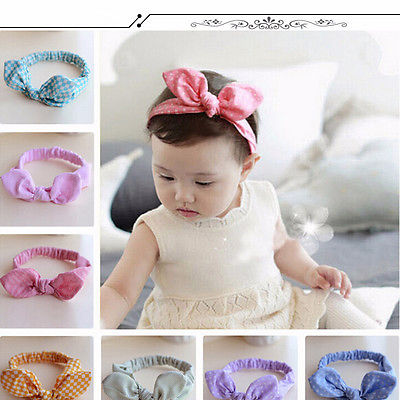 9 Styles Baby Kids Girls Rabbit Ear Cotton Lovely Newest Headband Hair band Bow Elastic Knot Hair Accessories 3pcs lot lovely printed floral fabric bow headband striped dots knot elastic nylon hair band for girl children headwear