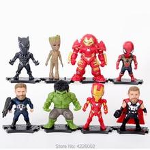 10cm Marvel The Avengers 3 Hulkbuster Superheroes Hulk Thor Spiderman PVC Action Figures Ironman Dolls Figurines Kids Toys 8pcs стоимость