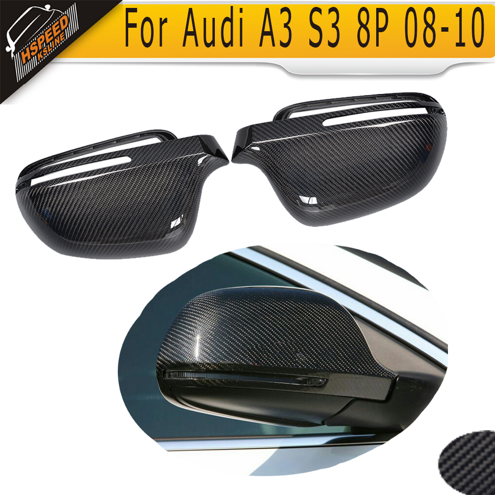 Carbon Fiber Car Side Mirror Covers Caps For Audi A3 S3 8P A4 B8 S4 RS4 08-10 A5 S5 8T 07-09 without side assist
