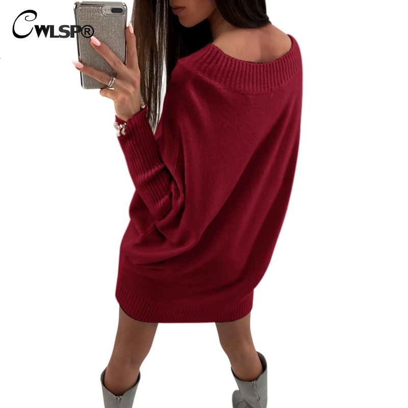 CWLSP Autumn Winter New Batwing Sleeve Knitted Sweater Dress Women Loose Slash Neck Pullovers Female Vestidos QZ2346 new 2017 hats for women mix color cotton unisex men winter women fashion hip hop knitted warm hat female beanies cap6a03