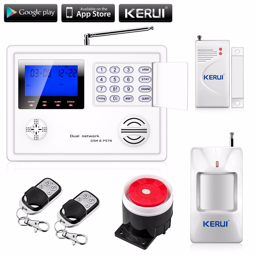 Wireless GSM and PSTN alarm system, with 99 Wireless defense zone and 2 wired zones android IOS APP remote control